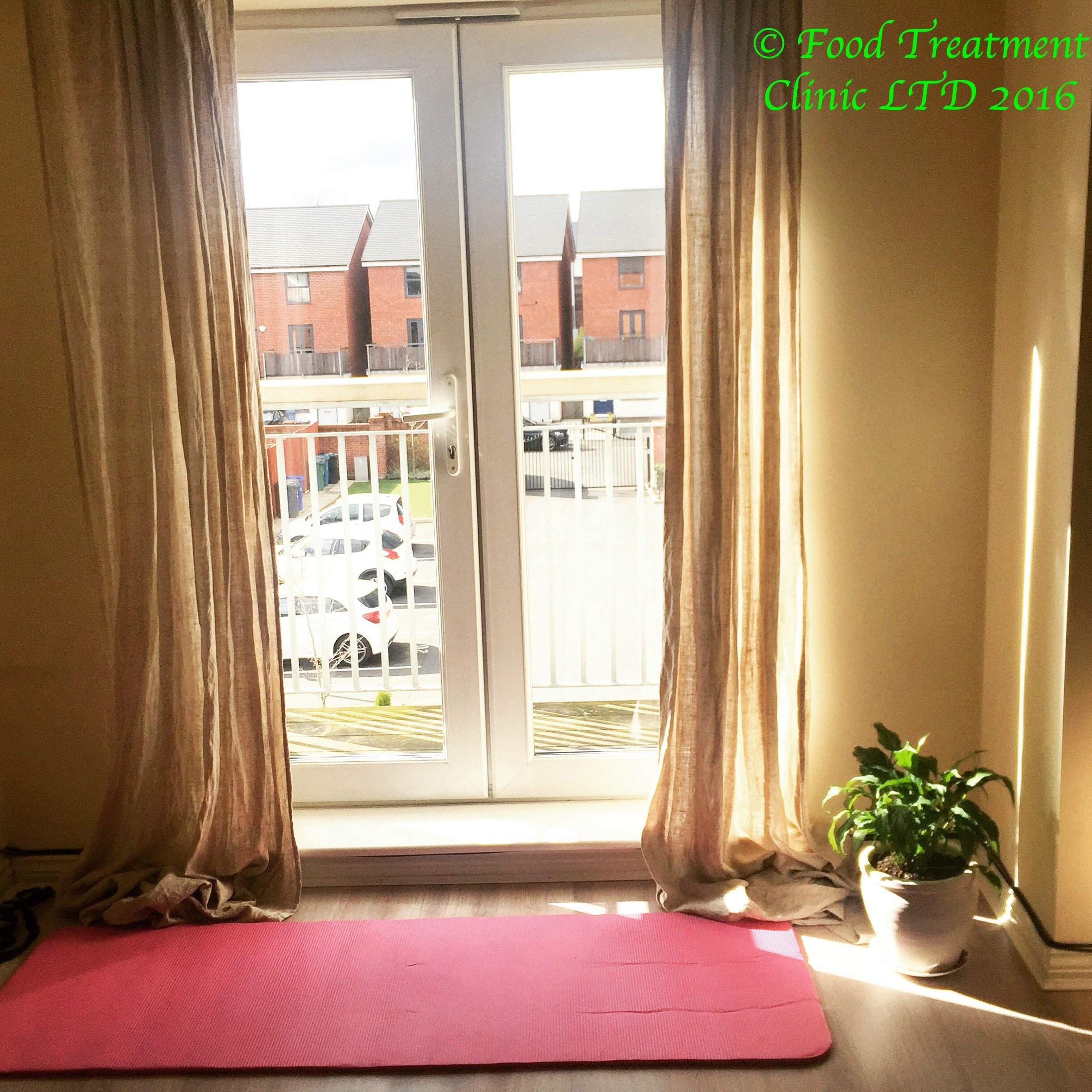 Workout mat by window