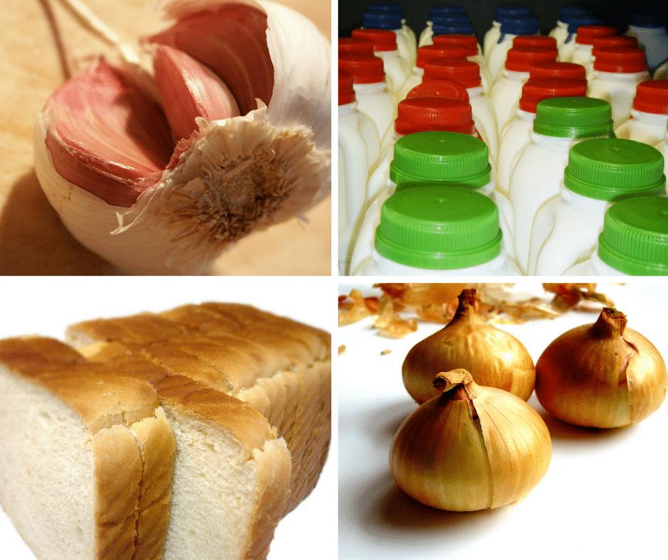 garlic, milk, bread, onions