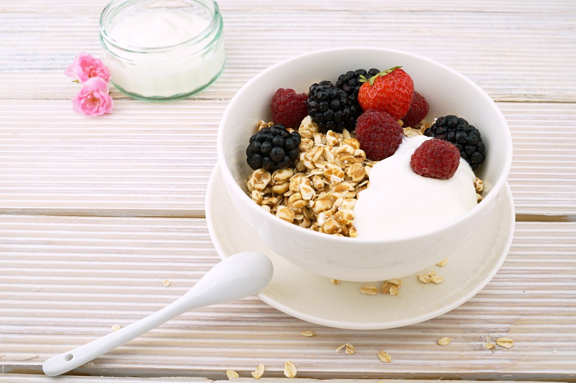 bowl of oats with yoghurt (to display a typical breakfast for those with coeliac disease)